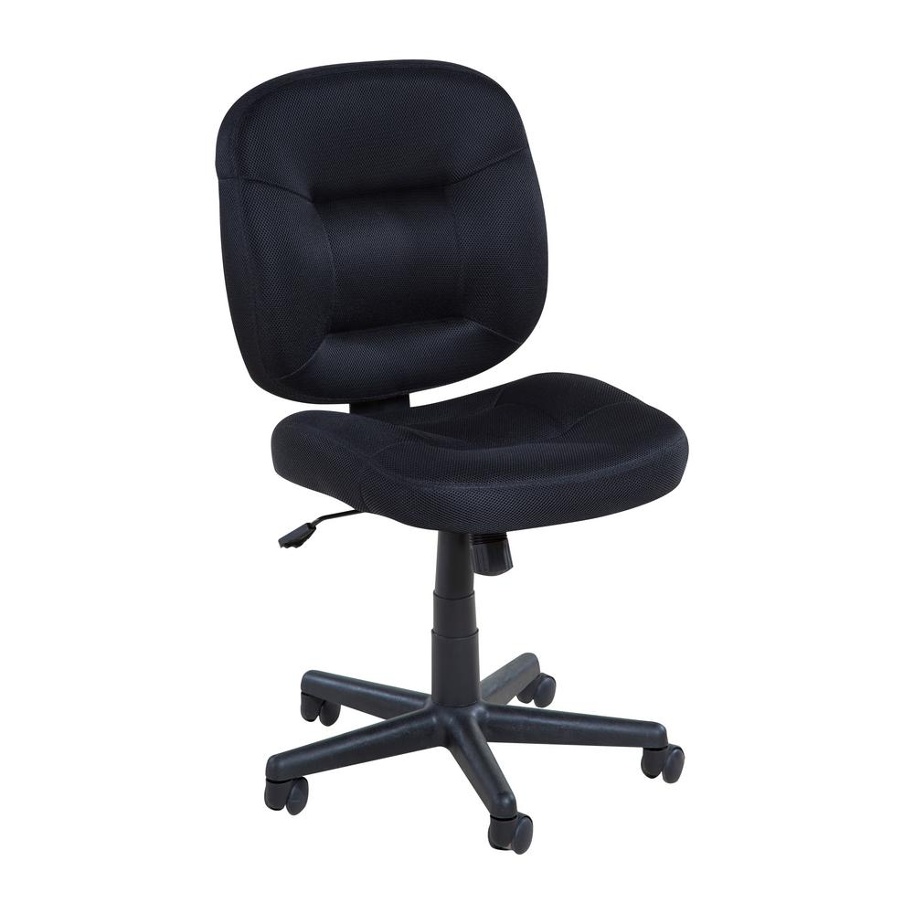 OneSpace Low Back Black Mesh Task Chair With Nylon Base