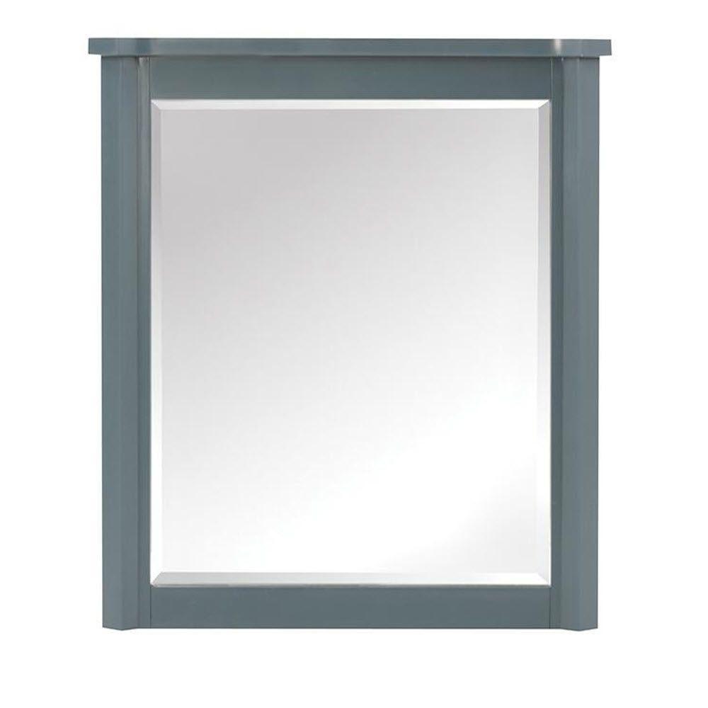Barcelona 32 in. H x 28 in. W Framed Wall Mirror in Teal Blue