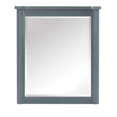 Barcelona 32 in. H x 28 in. W Framed Wall Mirror in Teal Blue