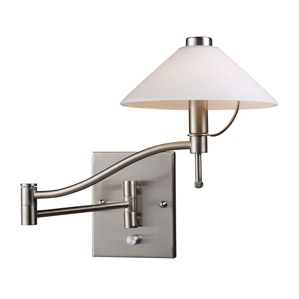 Titan Lighting 1-Light Satin Nickel Swing Arm Wall-Mount