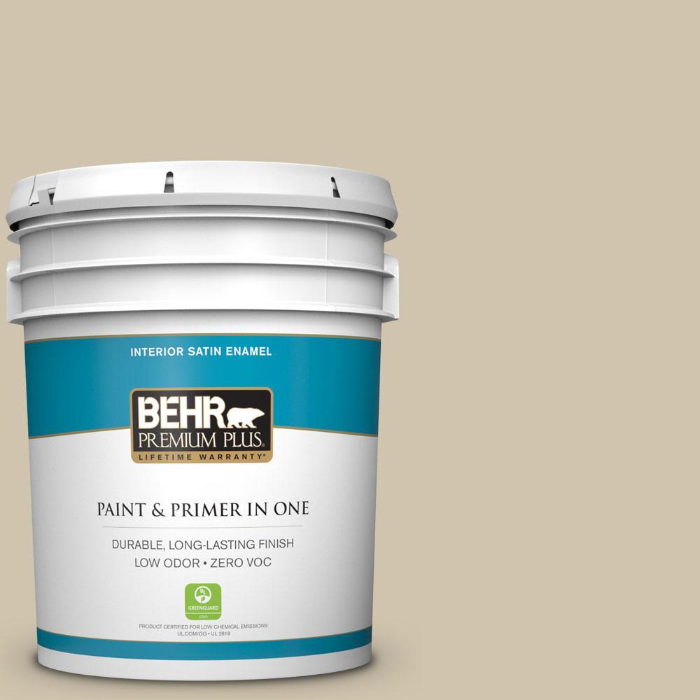 BEHR Premium Plus Home Decorators Collection 5-gal. #HDC-NT-18 Yuma Sand Zero VOC Satin Enamel Interior Paint