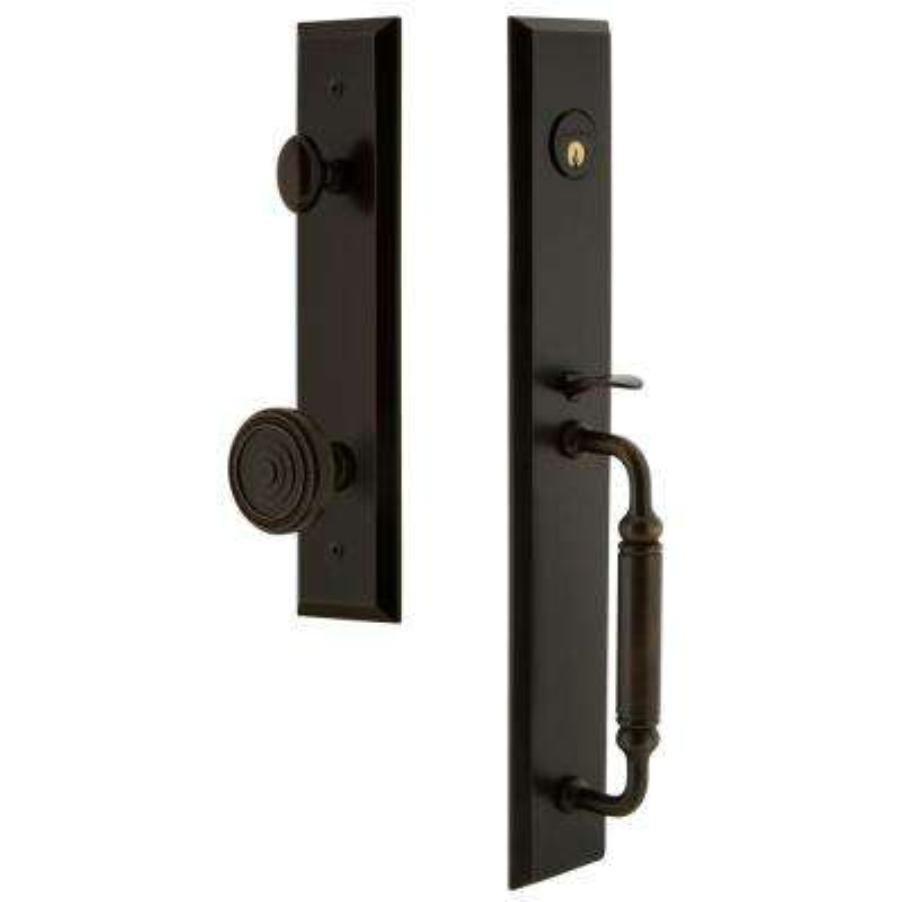 Fifth Avenue 2-3/8 in. Backset Timeless Bronze 1-Piece Door Handleset with C-Grip and Soleil Knob
