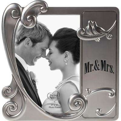 4 in. x 6 in. Mr & Mrs Wedding/Anniversary Silver Zinc Alloy Picture Frame