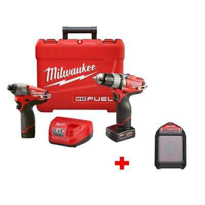 M12 FUEL 12-Volt Cordless Lithium-Ion Brushless 1/2 in. Drill/Impact Combo Kit with Free M12 Wireless Speaker