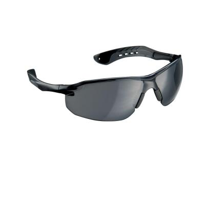 Black/Gray Flat Temple Frame with Grey Tinted Lenses Safety Glasses