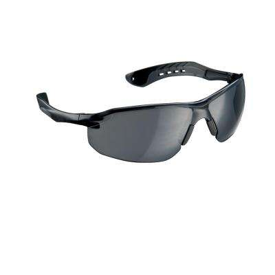 Black/Gray Flat Temple Frame with Gray Tinted Lenses Safety Glasses (Case of 6)