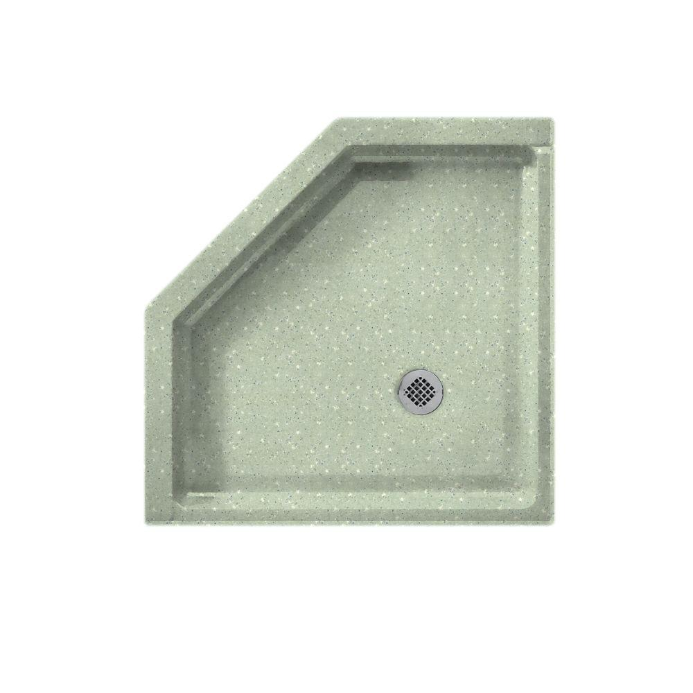 Swanstone Neo Angle 36 in. x 36 in. Single Threshold Shower Floor in Seafoam-DISCONTINUED