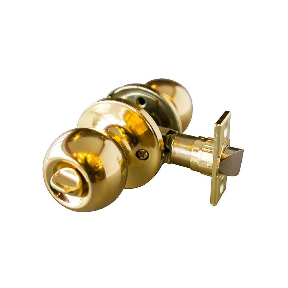 Bay Polished Brass Privacy Knob with Universal 6-Way Latch
