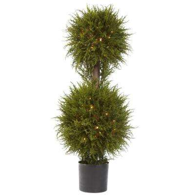 40 in. Cedar Double Ball Topiary with Lights