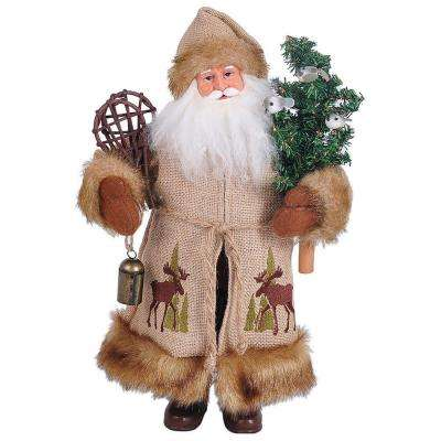 15 in. Santa Moose in the Bush with Snowshoes and Tree