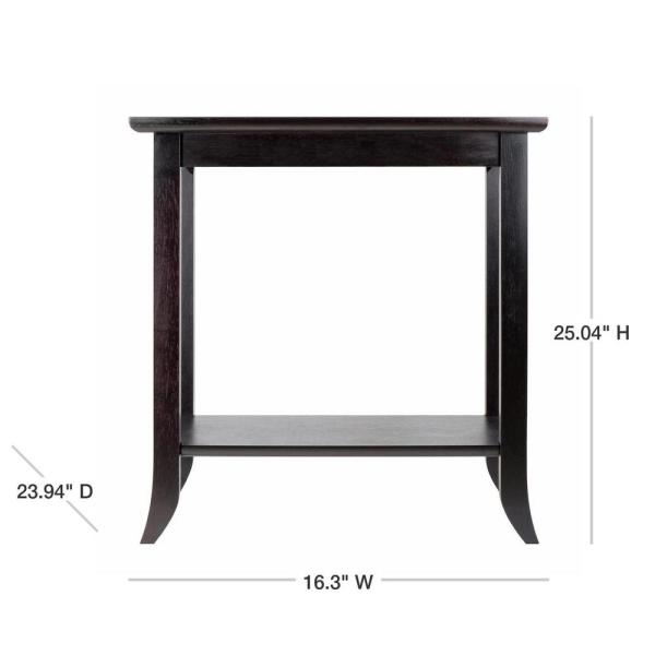Winsome Wood Genoa Espresso Glass Top End Table 92419 The Home Depot