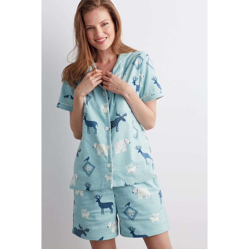 2b22ba3858 The Company Store Cotton Flannel Women's 2X Large Woodland Pajama Short Set  68028B-XXL-WOODLAND - The Home Depot