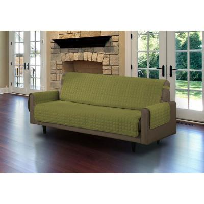 Sage Microfiber Sofa Pet Protector Slipcover with Tucks and Strap