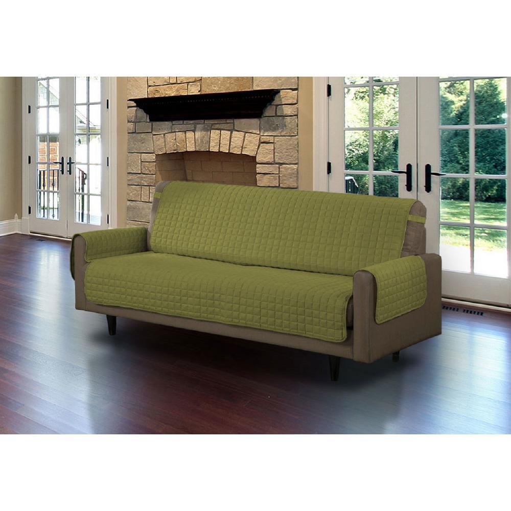 Sage Microfiber Sofa Pet Protector Slipcover with Tucks and Strap