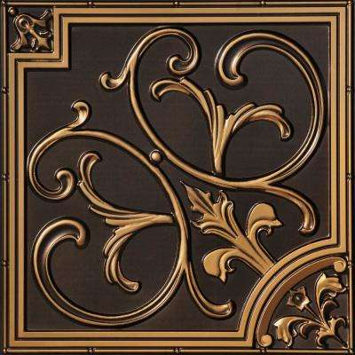 Lillies and Swirls 2 ft. x 2 ft. PVC Glue-up or Lay-in Ceiling Tile in Antique Gold