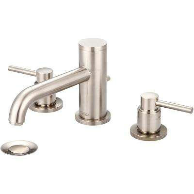 Motegi 8 in. Widespread 2-Handle Bent Nose Spout Bathroom Faucet in Brushed Nickel with Drain Assembly