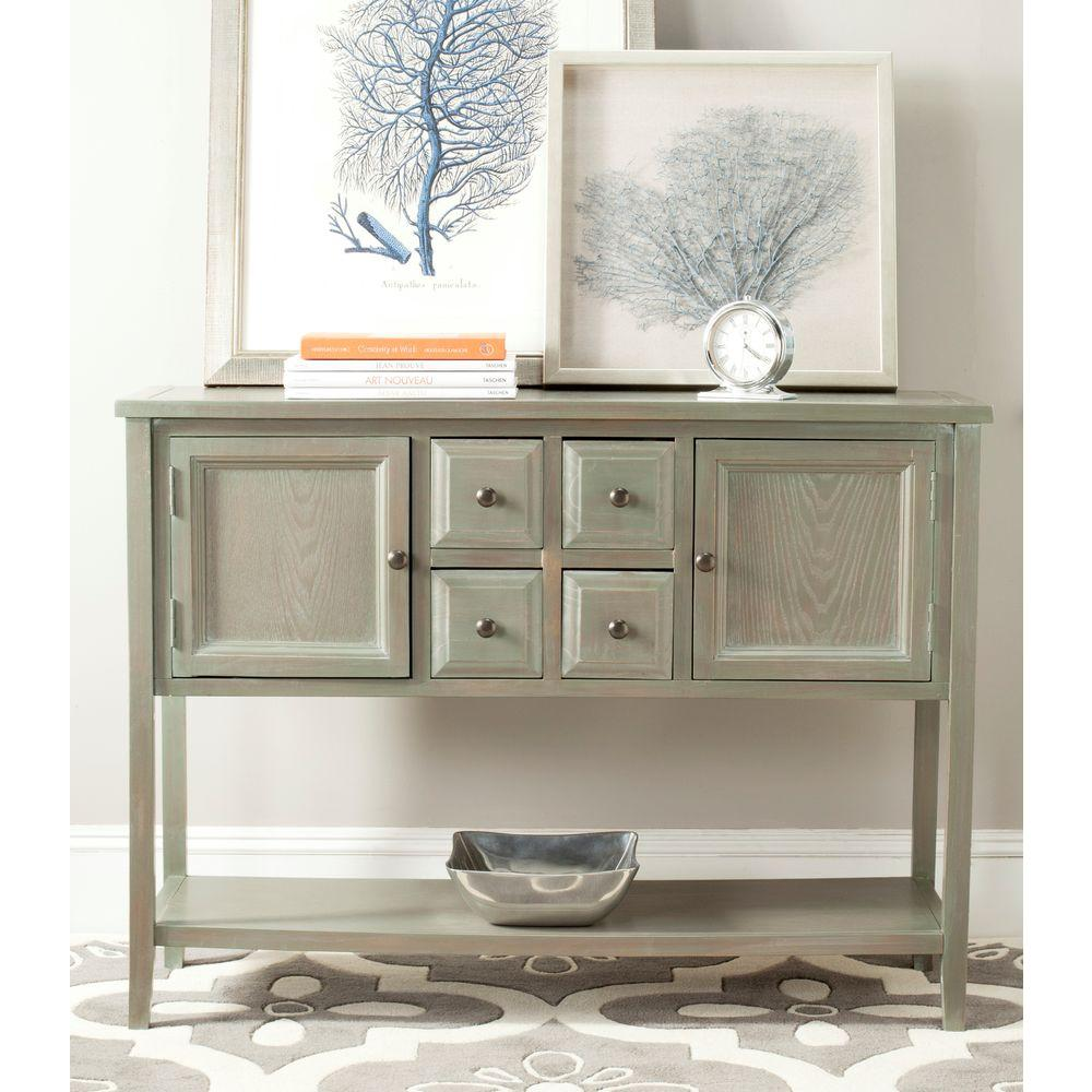 Safavieh Charlotte Ash Gray Buffet With Storage Amh6517e The Home Depot