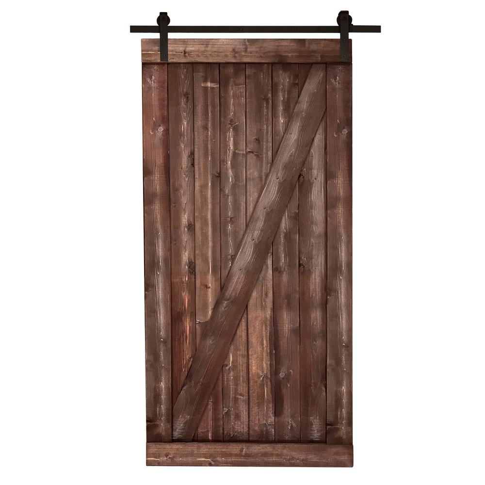 Exceptionnel Canadian Hemlock Distressed Smoke Barn Door With Sliding