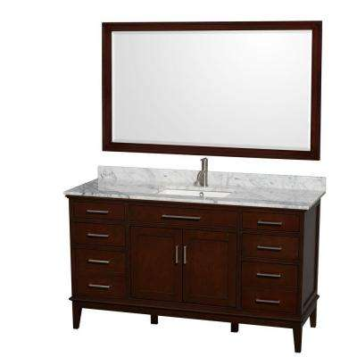 Hatton 60 in. Vanity in Dark Chestnut with Marble Vanity Top in Carrara White, Square Sink and 56 in. Mirror