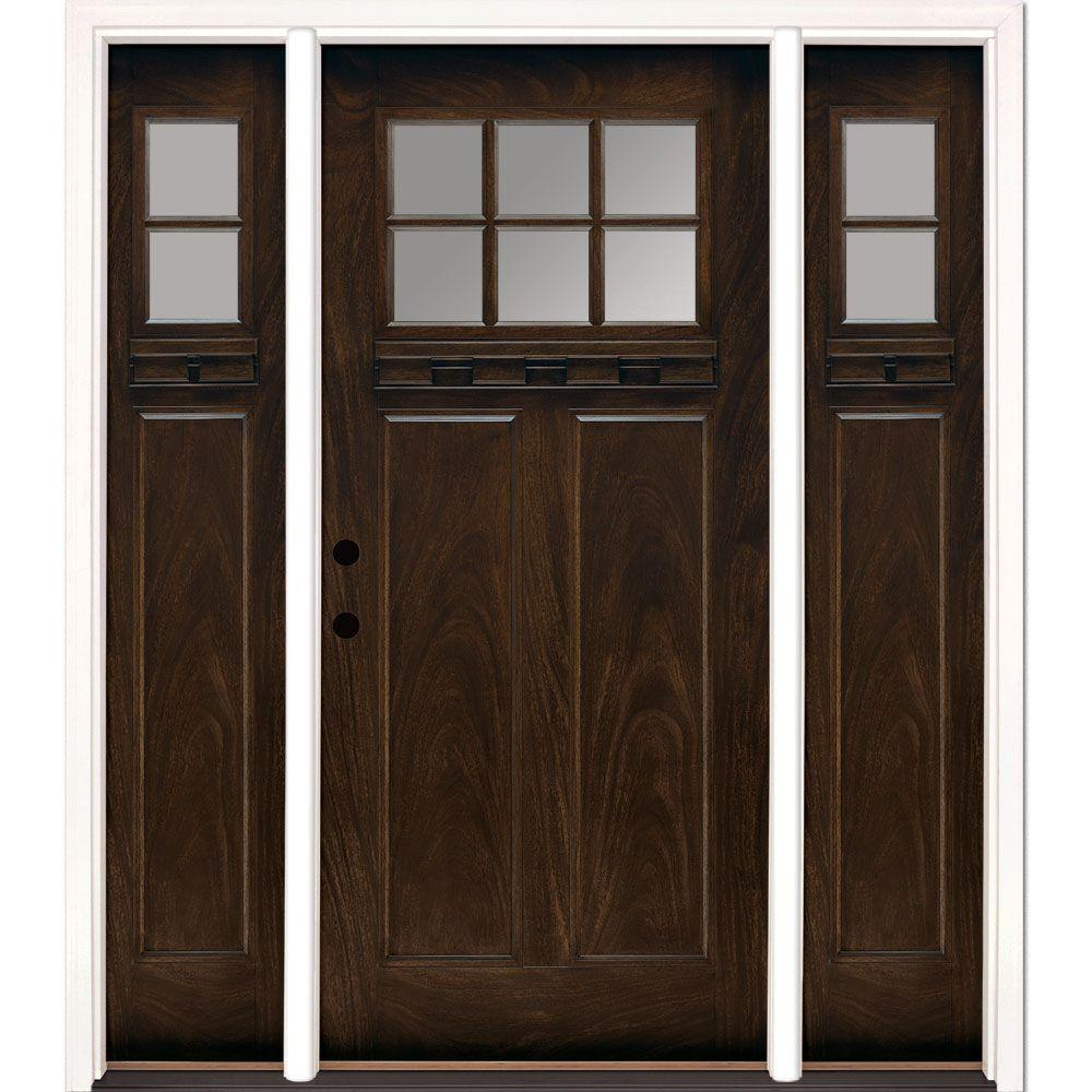 67.5 in.x81.625 in. 6 Lt Clear Craftsman Stained Chestnut Mahogany Right-Hand