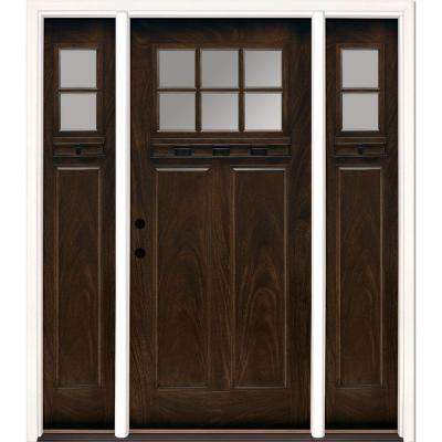 67.5 in.x81.625 in. 6 Lt Clear Craftsman Stained Chestnut Mahogany Right-Hand Fiberglass Prehung Front Door w/ Sidelites
