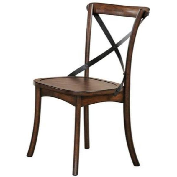 Wood and Metal Dark Oak Brown Side Chair with X Style Back Design ( Set of 2 )