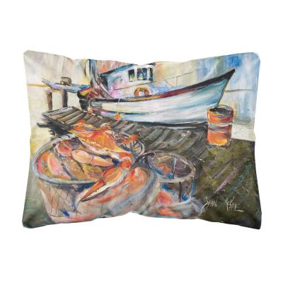 12 in. x 16 in. Multi-Color Lumbar Outdoor Throw Pillow Blue Crab Trap