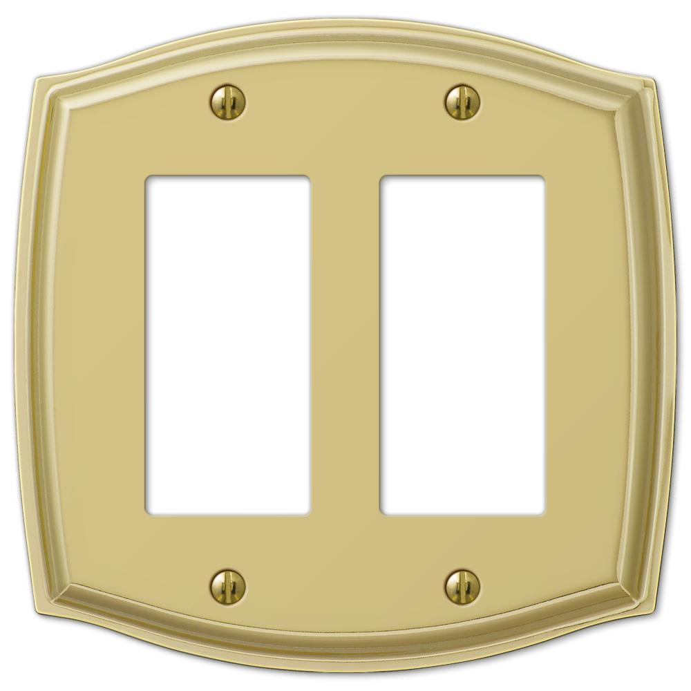 Vineyard 2 Gang Rocker Steel Wall Plate - Polished Brass