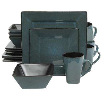 Kiesling 16-Piece Blue and Black Dinnerware Set