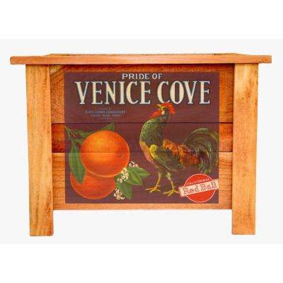 22 in. Redwood Wood Planter Box with Vintage Venice Cove Art