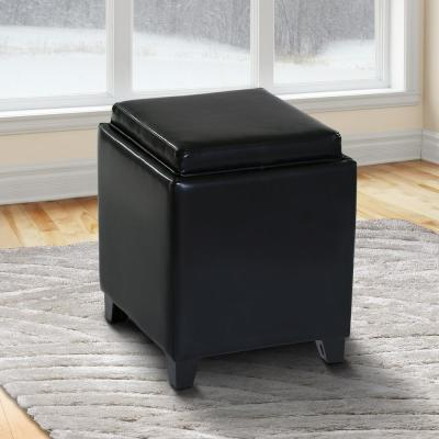 Rainbow Black Contemporary Storage with Tray in Bonded Leather Ottoman