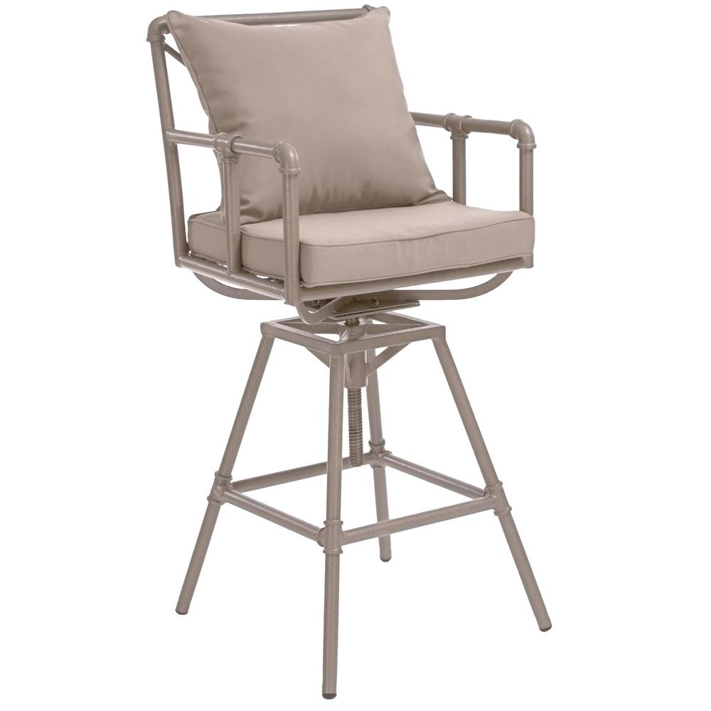 Brilliant Noble House Jacoby Swivel Metal Outdoor Bar Stool With Grey Cushion Machost Co Dining Chair Design Ideas Machostcouk