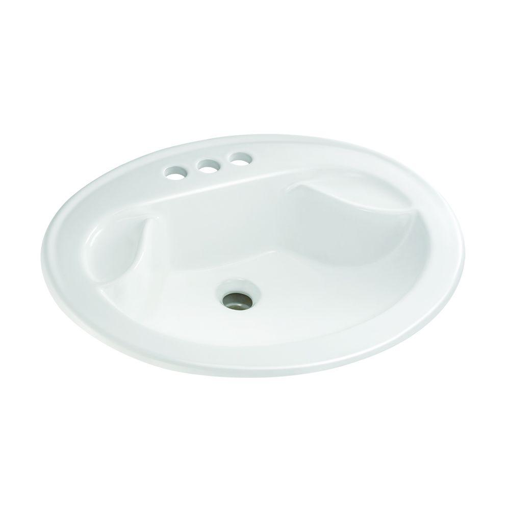 Drop-In Bathroom Sink with Soap Dish in White