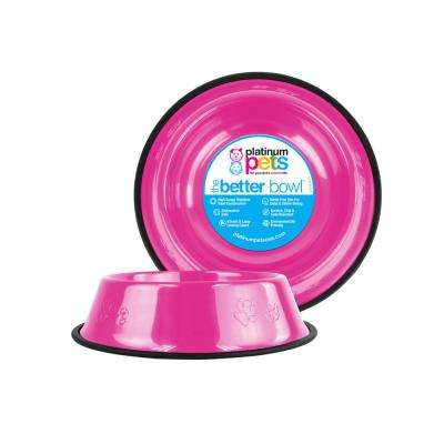 3.5 Cup Embossed Non-Tip Stainless Steel Dog Bowl, Bubble Gum Pink