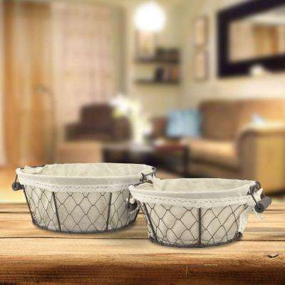 12 in. x 5 in. Iron Basket with Fabric Lining (2-Pack)