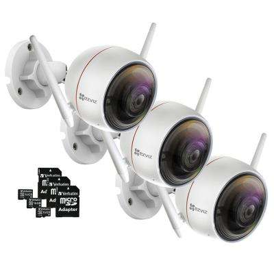 ezGuard C3W 1080p Indoor/Outdoor Bullet Wi-Fi Full HD Security Camera with 16 GB microSDHC Card and Adapter (3-Pack)