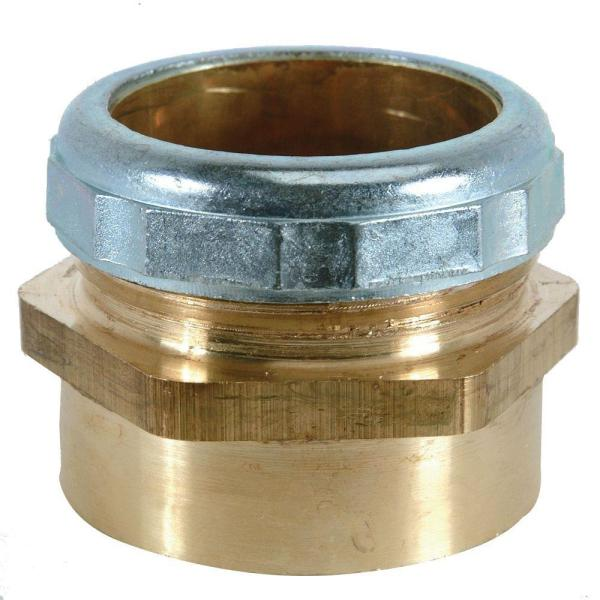 1-1/2 in. O.D. Compression x 1-1/2 in. FIP Brass Waste Connector with Die Cast Nut in Chrome
