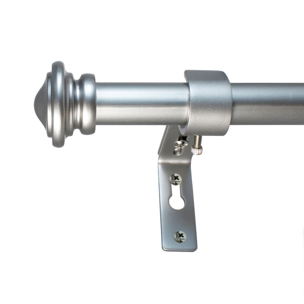 72 in. - 144 in. Cap Telescoping 3/4 in. Dia Single Rod Set in Antique Silver