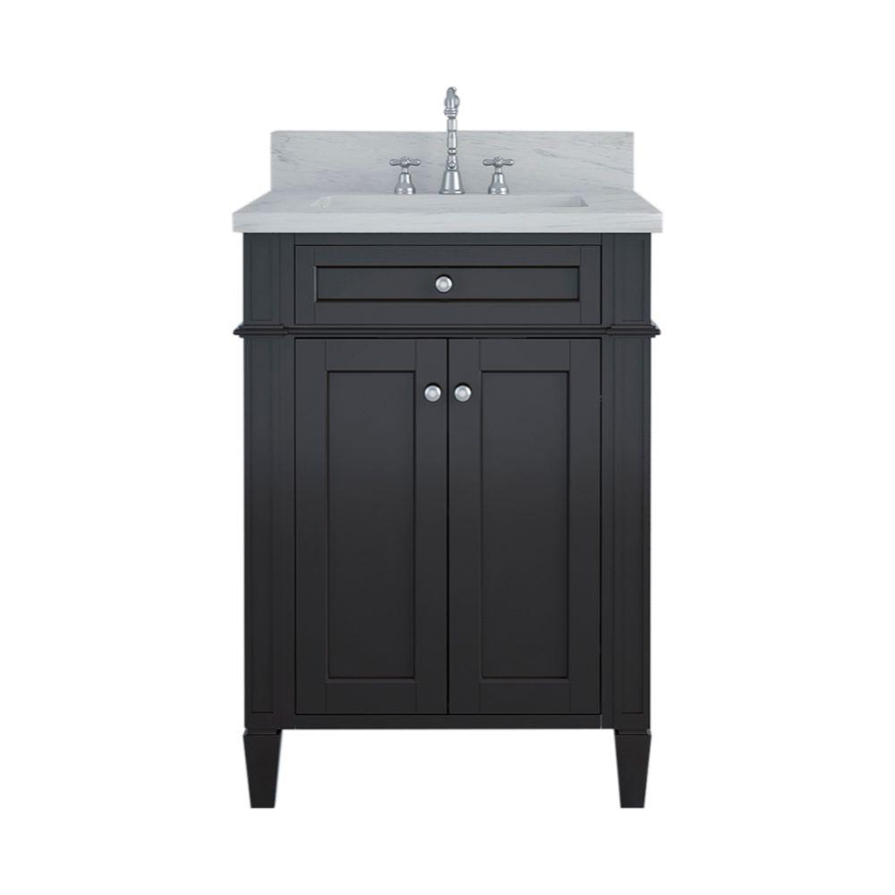 Alya Bath Samantha 24 in. W x 22 in. D Bath Vanity in Espresso with Marble Vanity Top in White with White Basin