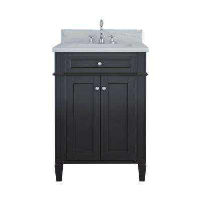 Samantha 24 in. W x 22 in. D Bath Vanity in Espresso with Marble Vanity Top in White with White Basin