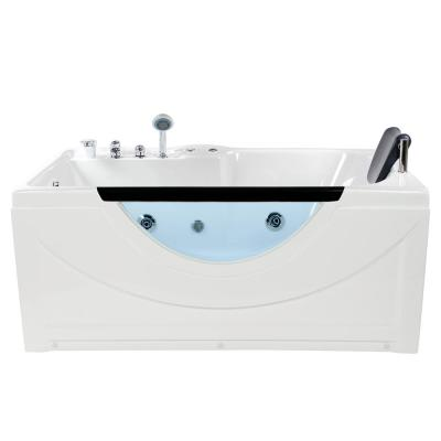 Lexi 59.50 in. Left Hand Drain Rectangular Alcove Whirlpool Bathtub in White