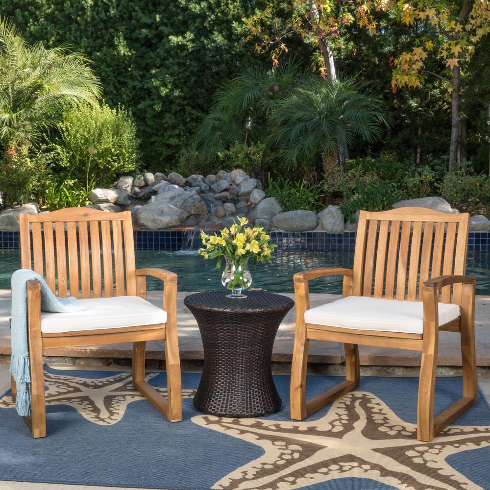 Avalon Teak 3-Piece Wood Patio Conversation Set with Beige Cushions