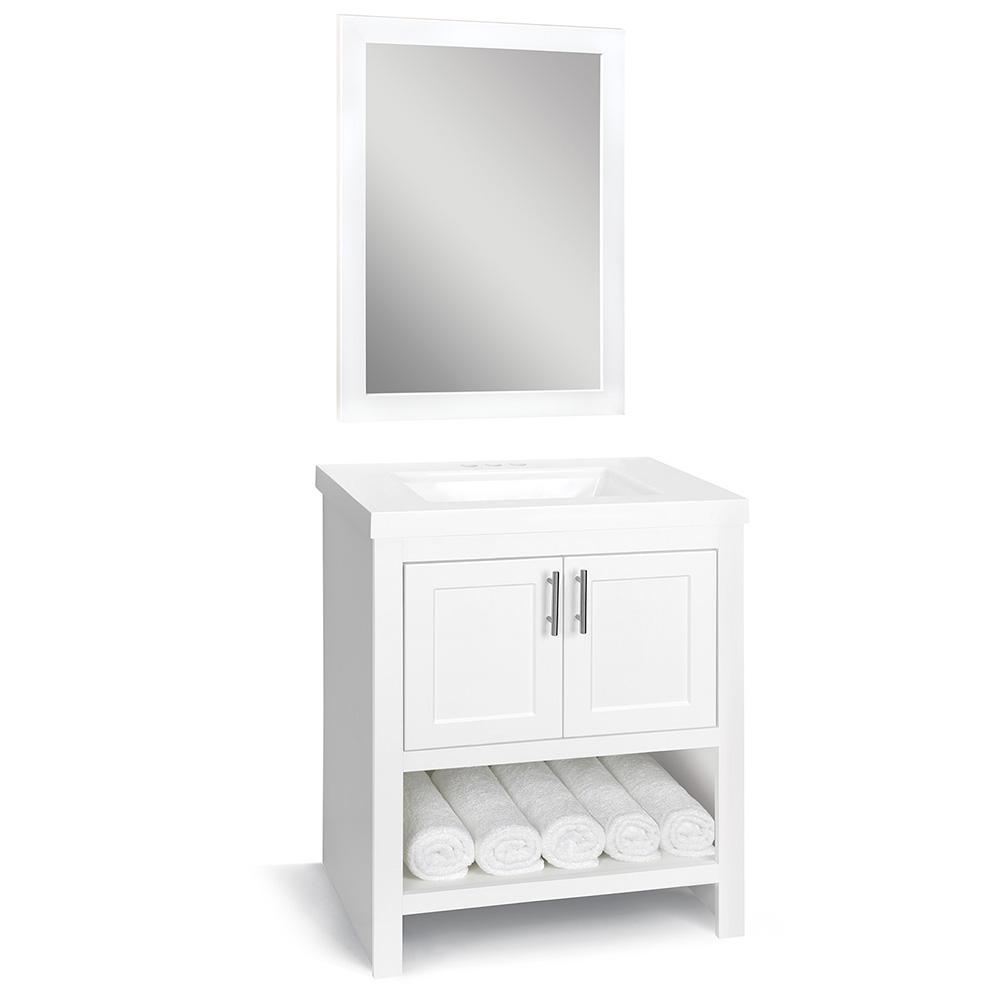 Glacier Bay Spa 30 in. W x 18.75 in. D Bath Vanity in White with Cultured Marble Vanity Top in White with White Sink and Mirror
