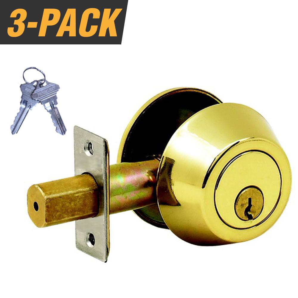 Polished Brass W// 3 Keys ANSI New Single Cylinder Deadbolt Door Lock Handle Set