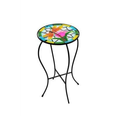 Metal and Glass Dragonfly Glow in the Dark Plant Stand