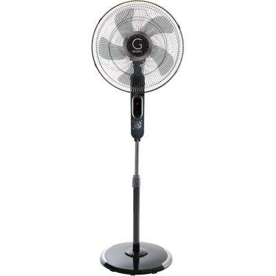 16 in. Standing Fan - Adjustable Height, Digital Display, Oscillating 6 Speed Stand Fan, Includes Remote, 4 Wind Modes