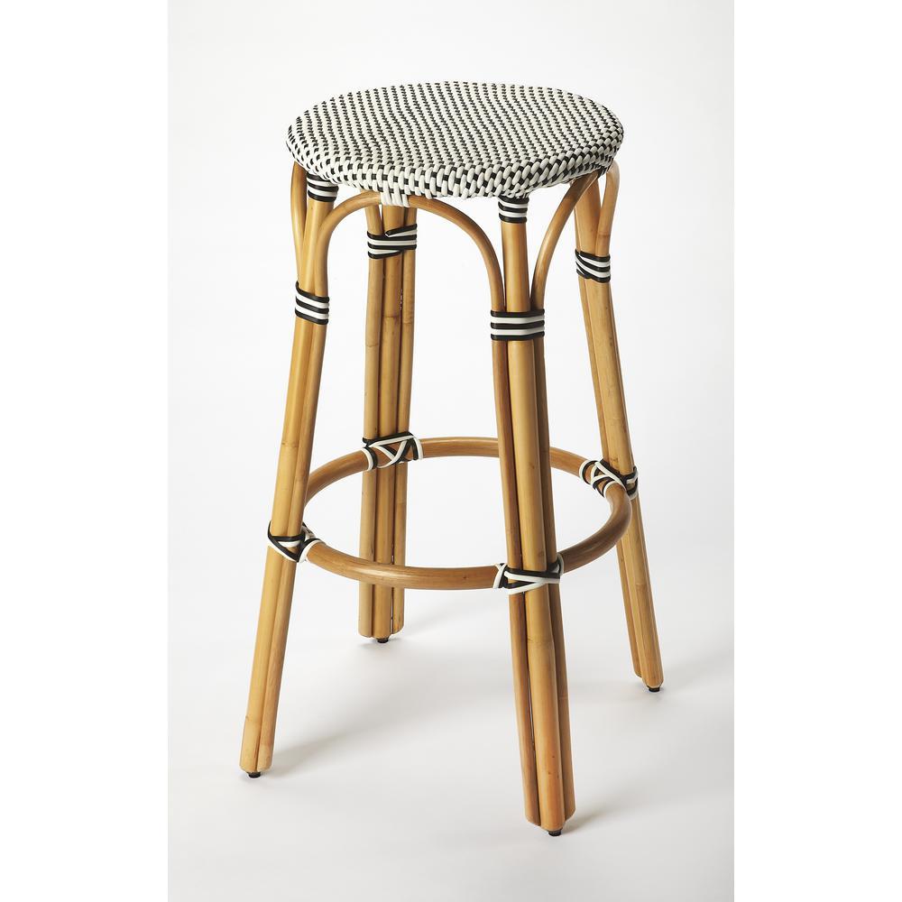 Swell Tobias 30 In Black And White Rattan Bar Stool Inzonedesignstudio Interior Chair Design Inzonedesignstudiocom