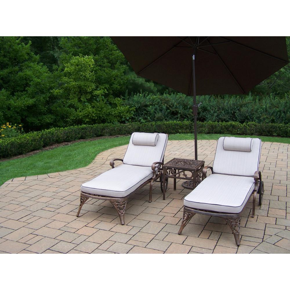 5 Piece Aluminum Outdoor Chaise Lounge Set With Tan Cushions And Brown