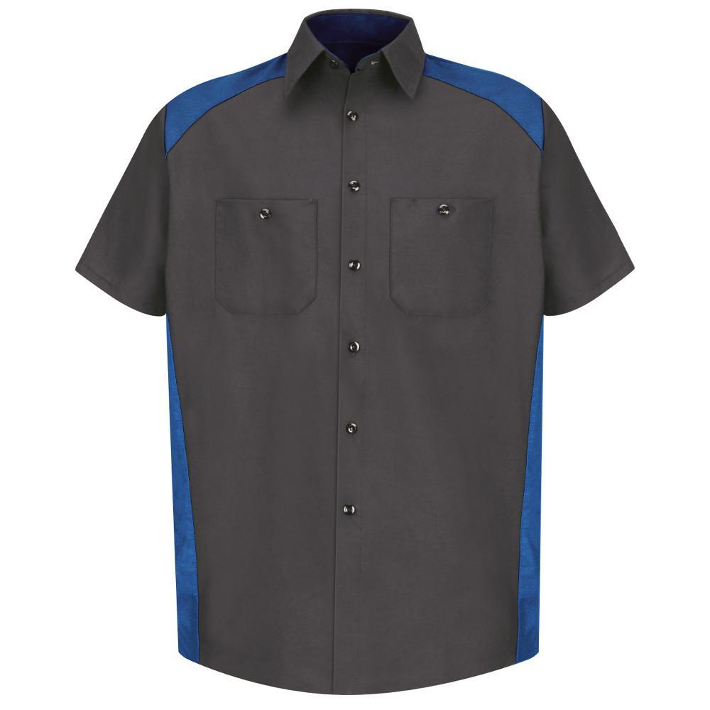 Men's Size 2XL Charcoal / Royal Blue Motorsports Shirt