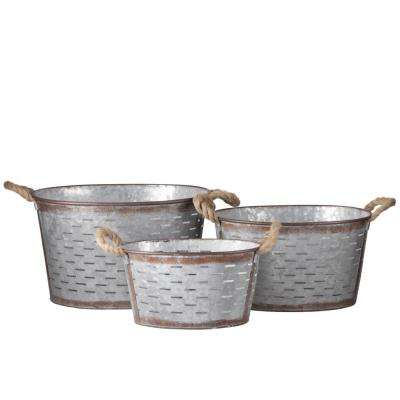 Oval Metal Galvanized Gray Decorative Basket (Set of 3)